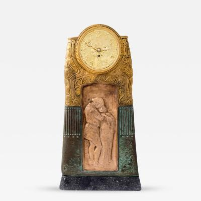 Gustav Gurschner Gustav Gurschner Table Clock with Lover s Pair 1913 k k Kunstgie erei Wien