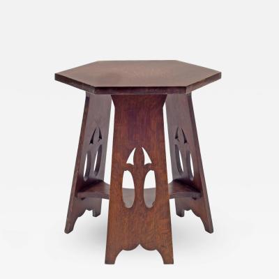 Gustav Stickley Stickley Brothers Quaint Furniture Co Hexagonal Oak Taboret Table USA 1900s