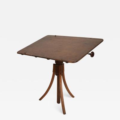 Gustav Stickley Stylish Artist Antique Oak Drawing Desk Drafting Table on Tripod Pedestal 1920s