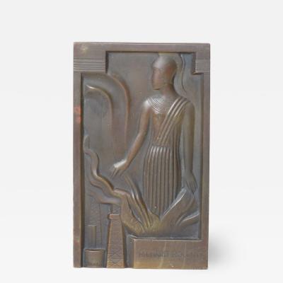 Gustave Miklos Gustave Miklos bronze plaque of Minerva 1934 France