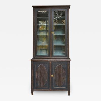 Gustavian Style Library with Glass Doors