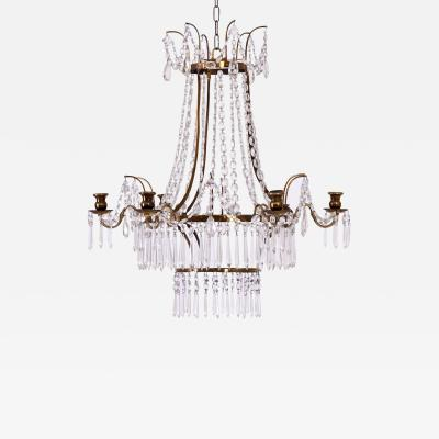 Gustavian style chandelier in brass and cut glass 19th C