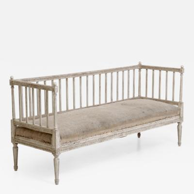 Gustavian style sofabench with many fine carvings 19th Century