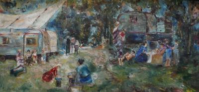 Guy Bolloni Gypsy Camp by French Artist Guy Bolloni