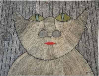 Guy Bourdin Guy Bourdin Cat Drawing Ink and Gouache on Paper 1955