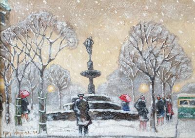 Guy Carleton Wiggins Impressionism Oil on Board Guy C Wiggins