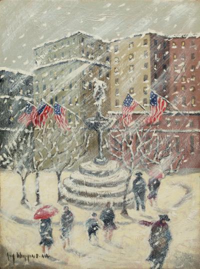 Guy Carleton Wiggins Winter at the Plaza
