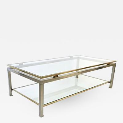 Guy LeFevre Brushed Stainless Steel and Brass Coffee Table by Guy Lefevre for Maison Jansen