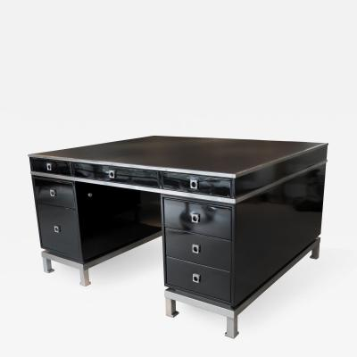Guy LeFevre Double sided presidential pedestal desk in lacquer and steel