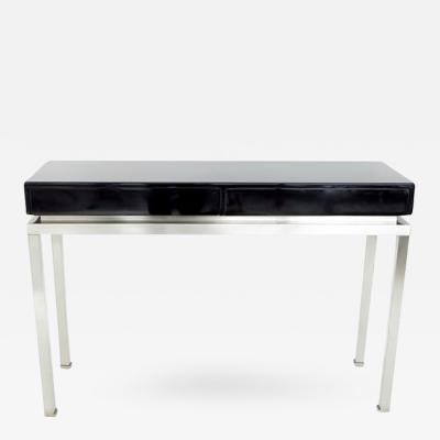 Guy LeFevre French Black Lacquer and Brushed Stainless Steel Console by Guy Lefevre
