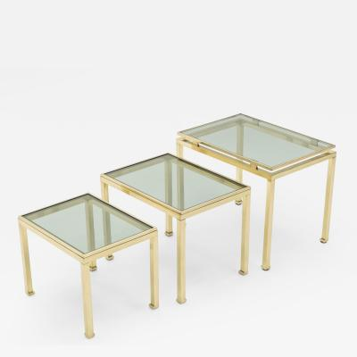Guy LeFevre French Brass nesting table Guy Lefevre for Maison Jansen 1970 s
