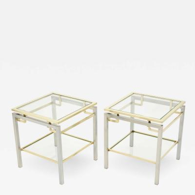 Guy LeFevre French Brass steel two tier end tables Guy Lefevre for Maison Jansen 1970s