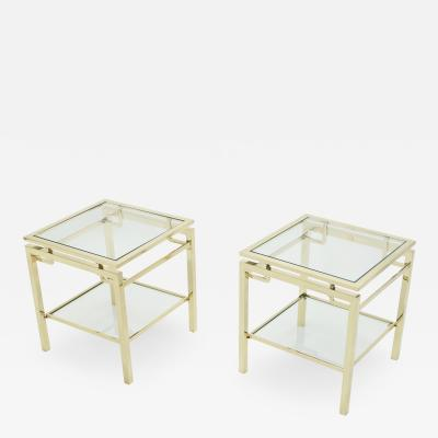 Guy LeFevre French Brass two tier end tables Guy Lefevre for Maison Jansen 1970s