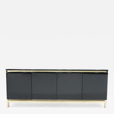 Guy LeFevre French Guy Lefevre for Maison Jansen brass black lacquered sideboard 1970s