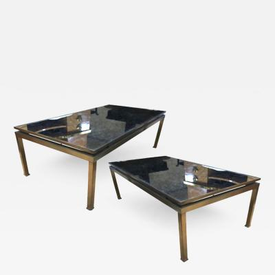 Guy LeFevre Guy Lefevre Pair of Big Oxidized Bronze and Eglomis Mirror Coffee Tables