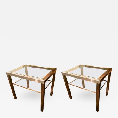 Guy LeFevre Guy Lefevre Pair of Pure Two Tiers Side Table in Brushed Steel and Bronze