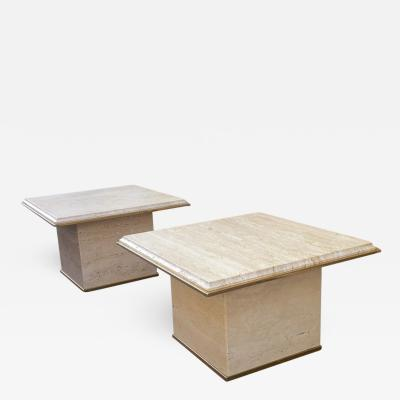 Guy LeFevre Guy Lefevre Pair of Travertine and Gold Bronze Coffee Tables