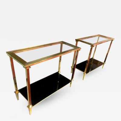 Guy LeFevre Guy Lefevre Refined Pair of Two Tiers Side Tables with Bronze Pure Hardware