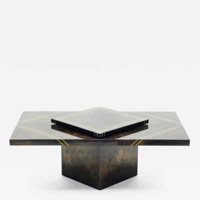Guy LeFevre Guy Lefevre for Ligne Roset lacquered brass bar coffee table 1970s