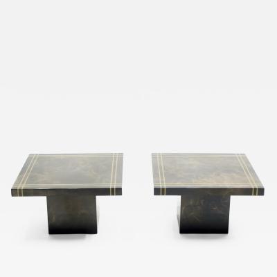 Guy LeFevre Guy Lefevre for Ligne Roset pair of lacquered brass end table 1970s