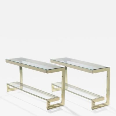 Guy LeFevre Guy Lefevre pair of large brass console tables for Maison Jansen 1970 s