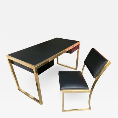 Guy LeFevre Lacquered Brass Desk and Chair by Guy Lef vre for Maison Jansen France 1970s