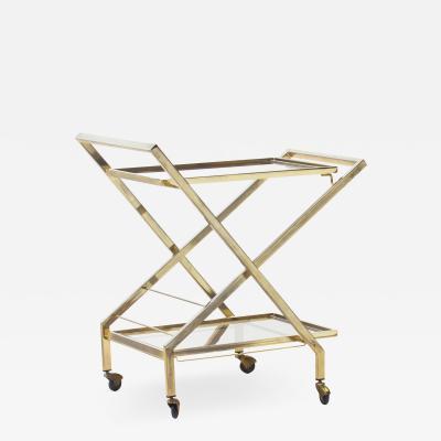 Guy LeFevre Midcentury Brass Bar Cart Attributed to Maison Jansen France 1960s