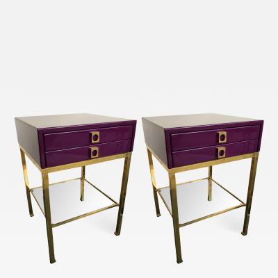 Guy LeFevre Pair of End Lacquered Tables by Guy Lefevre for Maison Jansen France 1970s