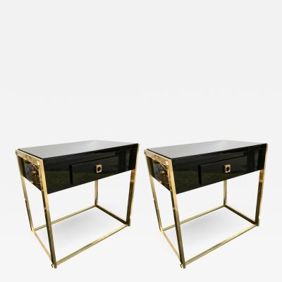 Guy LeFevre Pair of End Lacquered Tables by Guy Lefevre for Maison Jansen France 1970s