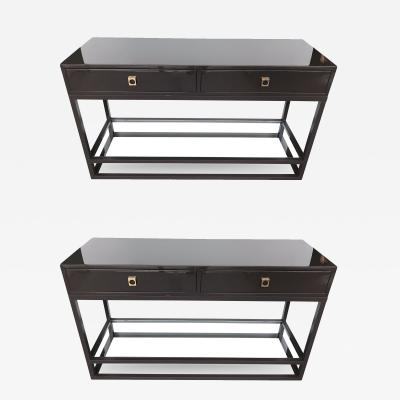Guy LeFevre Pair of Lacquered Console by Guy Lefevre for Maison Jansen France 1970s