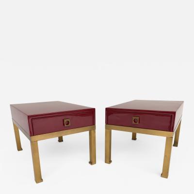 Guy LeFevre Pair of Lacquered End Tables by Guy Lefevre for Maison Jansen France 1970s