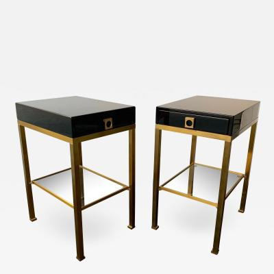 Guy LeFevre Pair of Lacquered Side Tables by Guy Lefevre France 1970s