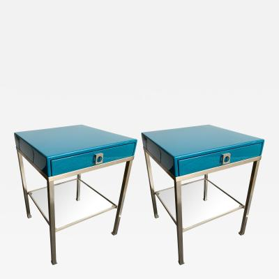Guy LeFevre Pair of Lacquered Side Tables by Guy Lefevre for Maison Jansen France 1970s