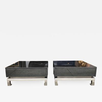 Guy LeFevre Pair of Lacquered Tables by Guy Lefevre for Maison Jansen France 1970s