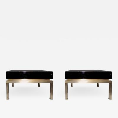 Guy LeFevre Pair of end tables by Guy Lefevre for Maison Jansen France 1970s