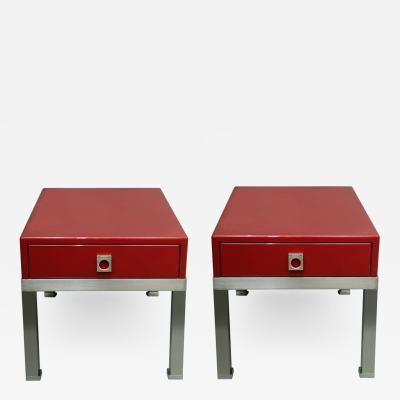 Guy LeFevre Pair of end tables in red laquer by Guy Lefevre for Maison Jansen France 1970s