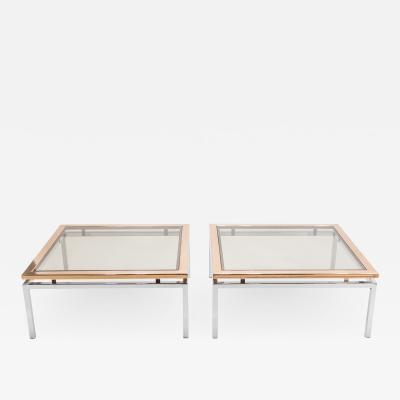 Guy LeFevre Pair of square copper coffee tables Guy Lefevre for Maison Jansen 1970s