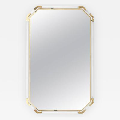 Guy LeFevre Very Large Lucite and Brass Mirror by Guy Lefevre for Maison Jansen 1970