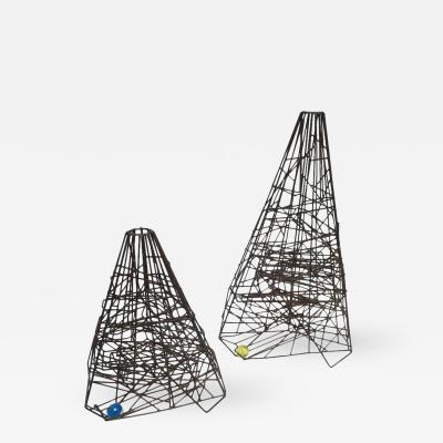 Guy Pullen Pair of 1960s Welded Wire Maze Sculptures by Guy Pullen