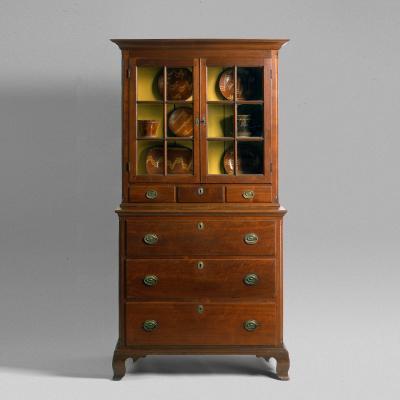 Pennsylvania Walnut Cupboard on Chest c 1800