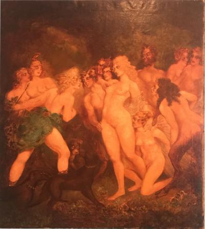 H Buckley INCREDIBLE ART DECO PAINTING OF VENUS AND DIANA