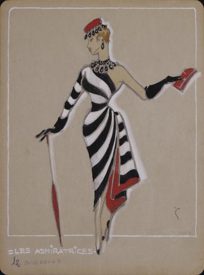H R Fost Les Admiratrices an Original French Costume Design by H R Fost circa 1940s