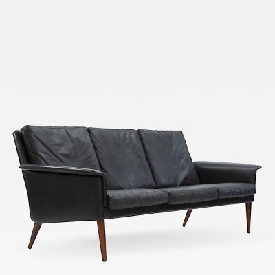 H W Klein Mid Century Leather and Rosewood Sofa