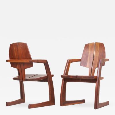 H Wayne Raab Pair of Wooden Studio Armchairs by H Wayne Raab US 1970s