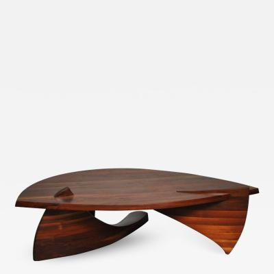 H Wayne Raab Sculptural Stacked Walnut Coffee Table by H Wayne Raab