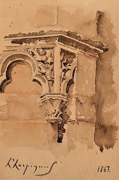 HENRI JOSEPH HARPIGNIES Aquarelle Detail Of A Gothic Church Ledge By Henri Joseph Harpignies