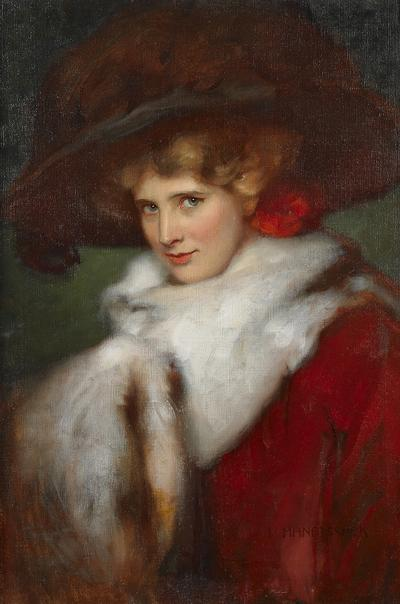 HERMANN HANATSCHEK Portrait of a Woman Wearing a Feathered Hat with Fur Stole and Muff