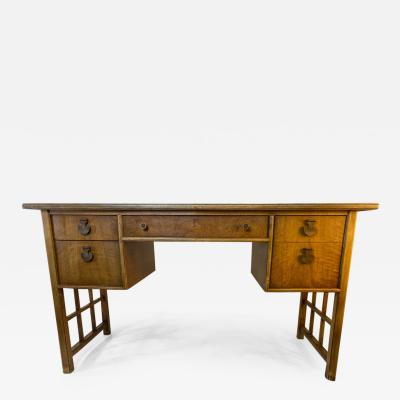HOLLYWOOD REGENCY BURLWOOD AND OIL SPOT LEATHER LATTICE DESK