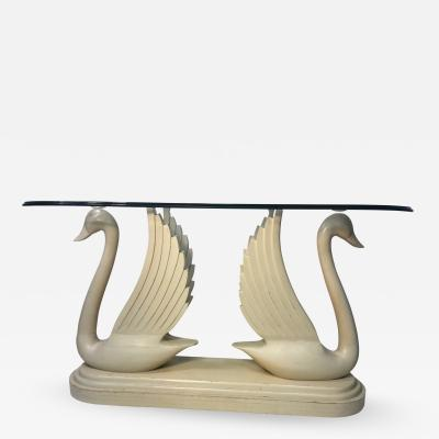HOLLYWOOD REGENCY CARVED WOOD DOUBLE SWAN CONSOLE