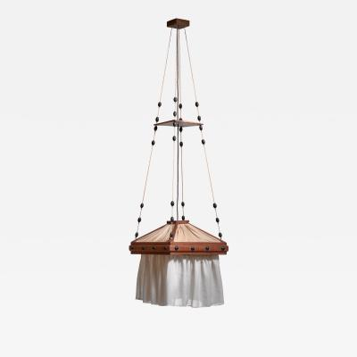 Haagse School oak and fabric pendant lamp